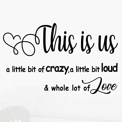 MOVANKRO This is us Crazy Loud Love Vinyl Art Wall Decal Family Quotes Lettering Sayings Home product image