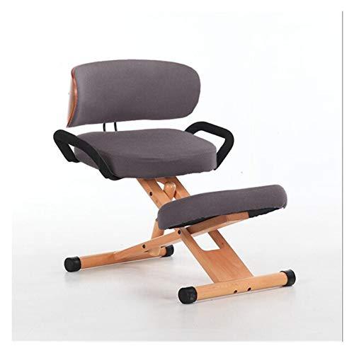 EODUDO-S Höhenverstellbarer Ergonomischer Kniestuhl mit Rücken- und Handgriff Holz Büromöbel Kniend Posture Arbeitsstuhl Kniehocker (Color : Grey Color)