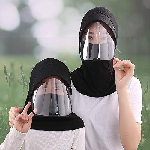 YOJOLO Visiera Protettiva con Visiera Cappello da Sole, Cappello Adulto per Adulti Viso Pieno Anti-Saliva Antipolvere Trasparente Trasparente Protezione Solare Isolamento Cappello Protettivo,Nero,Kid
