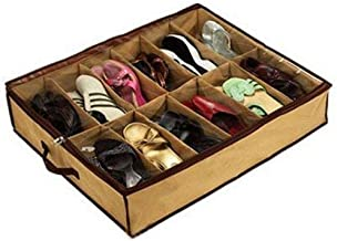 MM RETAILS Bed Storage Shoes Organizer Bag with Clear Plastic Zippered Cover Box(Shoes Under_Random Color)