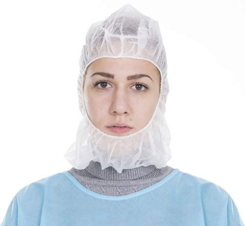 AMZ Polypropylene Hoods. Pack of 100 White Hooded Caps. Elastic Non-Woven Hoods. Universal Size Hair Covers for Industrial Use. Breathable, Lightweight. Disposable Beard Covers with Elastic Band.