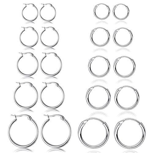 Set di 10 paia di orecchini rotondi a cerchio, per donne e uomini, ragazze, leggeri, in acciaio inox, per cartilagine, senza fine, ipoallergenici, 10-25 mm