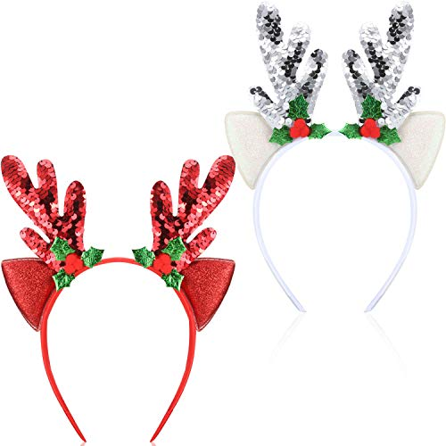 Bememo 2 Pieces Antler Headband Reindeer Headband Christmas Easter Headwear with Ears (Style C)