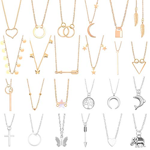 Necklaces for Women, Thrilez 24pcs Necklace Set Including Gold Necklaces, Simple / Layered Necklaces, Cute Vsco Necklaces, Star Choker Costume Jewelry for Women and Teen Girls