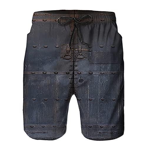 saletopk Bañador De para Hombre Pantalones Playa Shorts, Puerta de Madera Antigua con Tirador de Hierro Vintage Secado Rápido Ligero Baño Cortos L