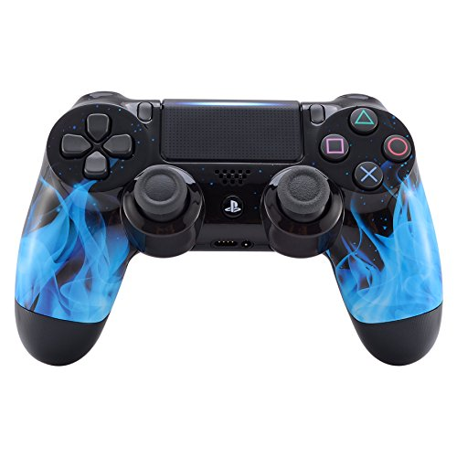eXtremeRate® Blue Fire Flame Front Housing Shell Faceplate for Playstation 4 PS4 Slim PS4 Pro Controller JDM-040