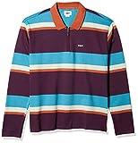 Obey Structure Polo LS Camisa, Color Morado, L para Hombre