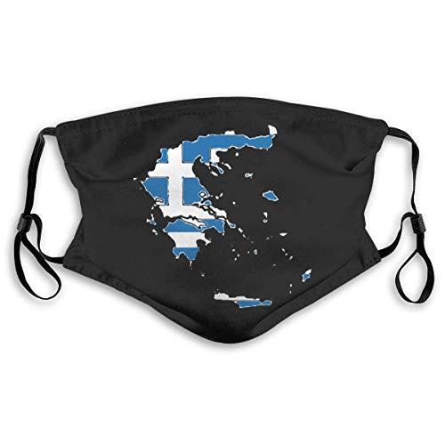 Promini Griechenland-Karte mit griechischer Flagge, Filterabdeckung, Unisex, (Abdeckung + 2 Filter), wiederverwendbare Gesichtsabdeckung zum Laufen M