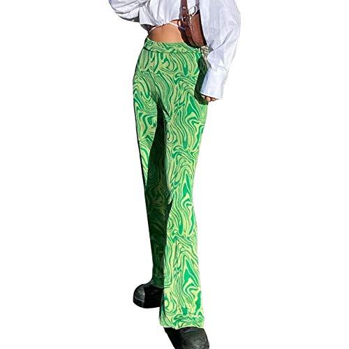 Alyweatry Women Y2k High Waist Fashion Pants Tie Dye Print Flared Trousers Straight Leg Streetwear Baggy Sweatpants (Light Green, M)