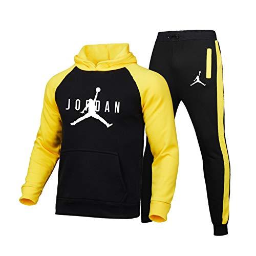 DRBY Jordan #23 Bulls - Conjunto de 2 piezas para hombre, sudadera con capucha y pantalones para correr, gimnasio, deporte al aire libre, color amarillo A-XXXL