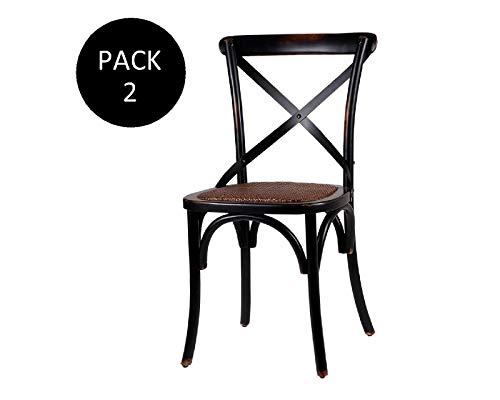 EHKA HOME Pack de 2 Sillas Atenas Negro Vintage