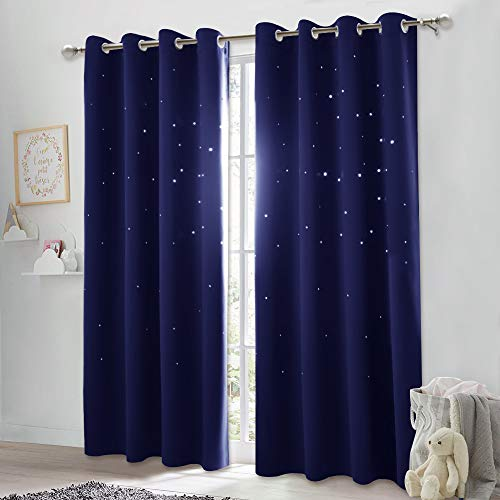NICETOWN Twinkle Stars Blackout Curtains - Nap Time Essential Kid's Room/Nursery Window Treatment Curtain Panels with Hollow Stars (2-Pack, W52 x L84 inches, Navy Blue)