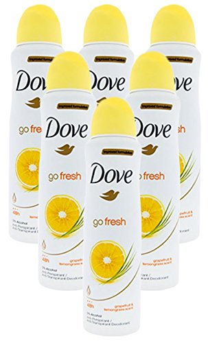 Improved Formulation Go Fresh Dove Anti-Perspirant Deodorant Spray Grapefruit & Lemongrass Scent (6 Can)