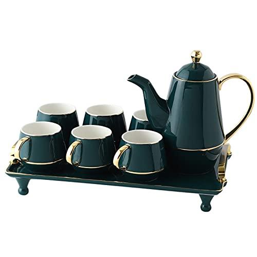 Juego de taza de café y platillo de cerámica nórdica de la tarde de té de cerámica verde malaquita hervidor frío