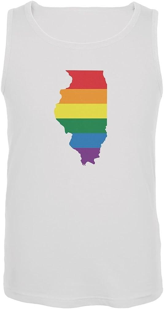Illinois LGBT Gay Pride Rainbow White Adult Tank Top