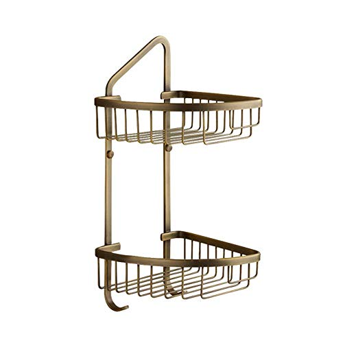 Best Prices! Towel Rail Rack Wall Mounted Bathroom 2-Tier Corner Shelf Basket with Hook - Triangular...