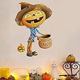 Feliz Halloween Etiqueta de la pared Dibujos animados Calabaza Linterna Bruja Chico lindo Bolsa de dulces PVC Art Decal Niños Regalo Puerta Sala de estar Dormitorio Decoración del hogar Mural