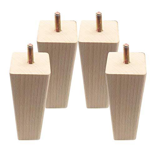 DIYARTS 4Pcs 12 * 5 * 3 cm Patas de Muebles Pata de Madera Cuadrada Sólida Repuesto Confiable de Madera Piezas Universales Pies de Mesa de Ángulo Recto Herramienta de Bricolaje Casero