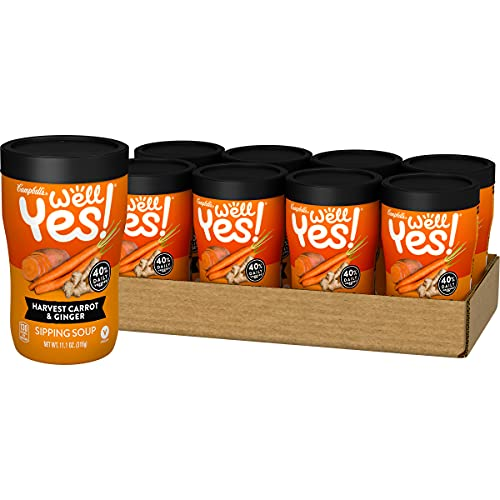 Campbell's Well Yes! Sipping Soup, Vegetable Soup On The Go, Harvest Carrot & Ginger, 11.1 Oz Cup (8 Pack)