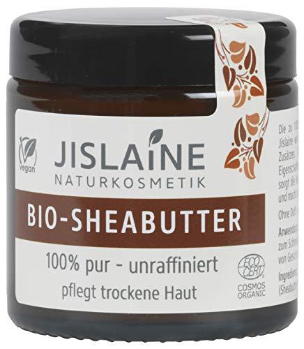 Jislaine Bio-SHEABUTTER* - Unraffiniert und Pur für sehr trockene Haut & Haare -> Komplett vegan & ohne Palmöl - 100g beste Hautpflege - im Glastiegel