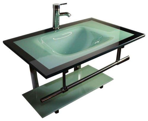 31'' Glass Wall Mount Vanity Furniture Aqua Green Tempered Glass Bowl Vessel Sink
