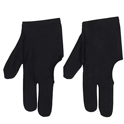 Alomejor Billardhandschuhe 2 Stück Unisex Dehnbar 3 Finger Snooker Handschuh für Billard Zubehör