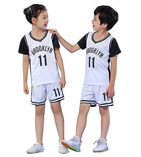 Bestickte Basketballtrikots für Kinder Netze Kyrie Irving # 11, Boy Girl Top und Shorts 2-teiliges Set-Shirt Atmungsaktiver, schnell trocknender Basketballanzug-White-XS