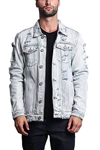 Victorious Men's Casual Distressed Denim Jean Jacket DK100 - Light Indigo - Large - II7C