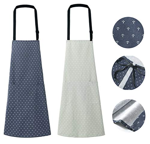2 Packs Apron, Adjustable Cotton Linen Aprons for Women and Men, Waitress Apron with Pockets for Restaurant, Cafe, Kitchen Chef Apron for Home, Cooking, Baking, Household Cleaning Bib (Navy and Gray)