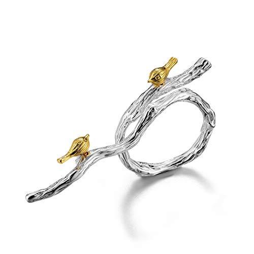 Lotus Fun S925 Sterling Silber Ring Lebhaft Vogel auf Zweig Ringe Natürlicher Kreativ Beliebt Handgemachter Einzigartiger Schmuck für Frauen und Mädchen (Silver)
