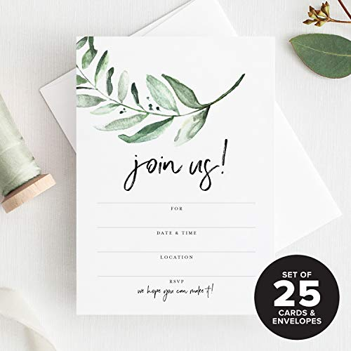 25 Invitations with Envelopes for All Occasions, Greenery Invites Perfect for: Weddings, Bridal Showers, Engagement, Birthday Party or Special Event — Fill in Rustic invites from Bliss Paper Boutique