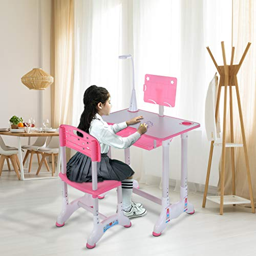 KANGMOON Height Adjustable Children's Desk Chair Set, Study Desk with Led Light, Student Writing Painting Portable Tilted 0-45° Table Top, Built-in Grooves Hold Stationery, for Children Aged 3-18