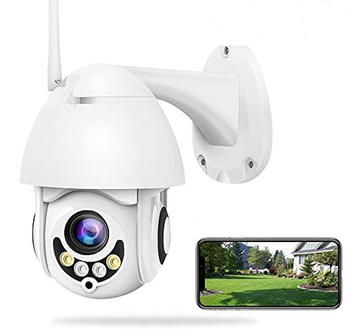 PTZ Dôme Caméra de Surveillance WiFi Extérieure 1080P, Caméra IP sans Fil, Audio Bidirectionnel, Détecteur de Mouvement, Vision Nocturne, Message Push