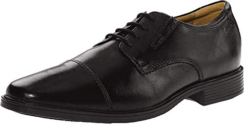 Clarks Tilden Cap, Zapatos de Cordones Derby Hombre, Negro (Black Leather), 41.5 EU