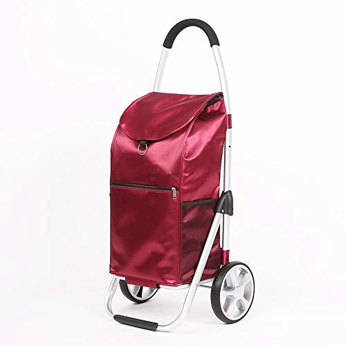 ZR Carro portátil de aluminio con bolsa desmontable grande, carro de compras...