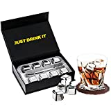 8 PCS Whiskey Stones, Stainless Steel Metal Ice Cubes, Reusable Whiskey Rocks Beverage Chilling Stones for Scotch and Bourbon, Drinking Gifts Sets for Men Dad Husband Anniversary Birthday Holiday