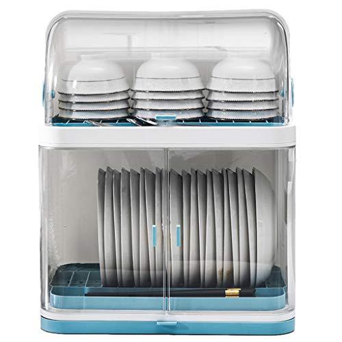 WHL Tableware Drainers Household Plastic Cupboard Kitchen Dish Storage Box Drain Rack Dishware Drain Rack with Lid Kitchen Storage Rack