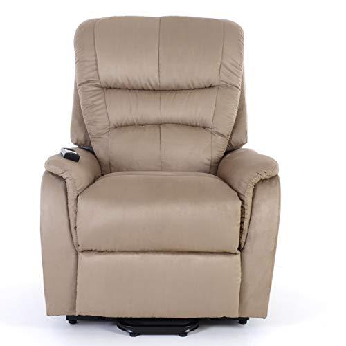 RABURG Fernsehsessel JAN mit elektrischer Aufstehhilfe - Schlafsessel XXL mit Liege- & Relaxfunktion aus Soft-Touch-Mikrofaser - in CAPPUCCINO mit 2 kraftvollen Motoren + Fernbedienung