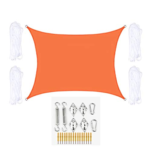 Toldo Vela de Sombra Rectángulo Sombra Sombra Vela con Kit de fijación Impermeable Transpirable Toldo Solar Toldo Tabla UV Bloque Al Aire Libre Protección Solar (Color : Orange, Size : 2Mx4M)