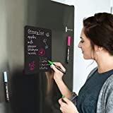 Magnetic Black Dry Erase Board for Fridge with Bright Neon Chalk Markers (12x8'). 4 Liquid Blackboard Markers with Magnet. Small Chalkboard Magnet White Board Refrigerator. Magnetic Whiteboard Sheet.