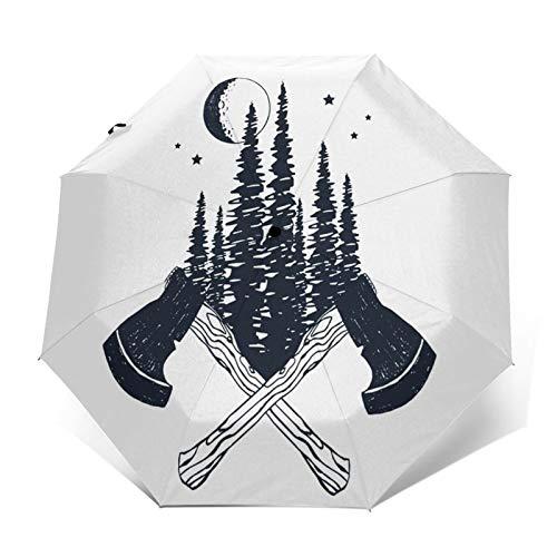 Paraguas Plegable Automático Impermeable Hachas de Madera Cruzadas, Paraguas De Viaje Compacto...