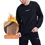 HOTSUIT Sauna Suit Men Weight Loss Sweat Jacket Gym Boxing Workout, Black, L