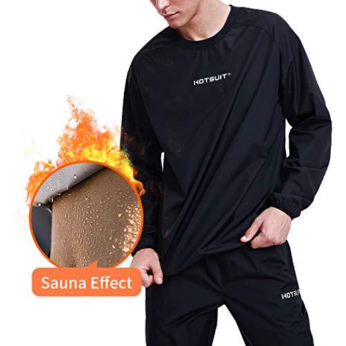HOTSUIT Sauna Suit Men Weight Loss Sweat Jacket Gym Boxing Workout, Black, XL