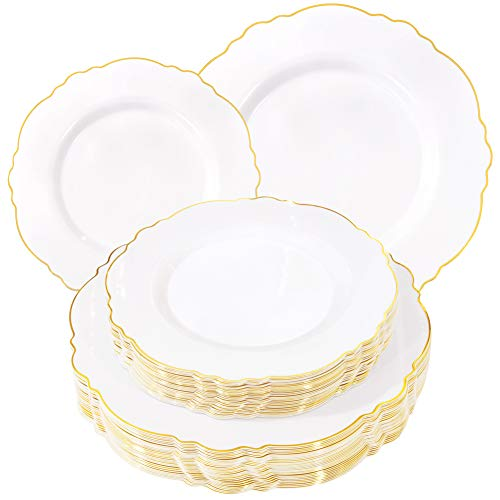 WDF 60pcs Gold Plastic Plates -Baroque White &Gold Disposable Plates for Upscale Parties &Wedding-including 30Plastic Dinner Plates 10.25inch,30Salad Plates 7.5inch