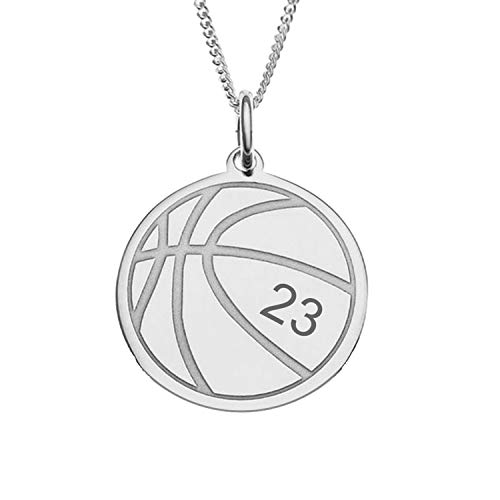 925 Sterling Silver Football Basketball Pendant Necklace with Engraved Name Word Numbers Custom Any Ball Necklace for Idol Boy Women Men Girls (style 5-sterling silver(Silver))
