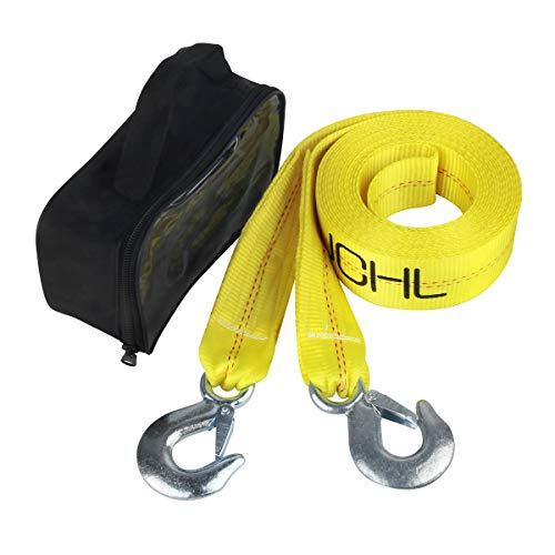 """JCHL Nylon Tow Strap with Hooks 2""""x20' Car Vehicle Heavy Duty Recovery Rope 20,000 lbs Capacity Tow Rope for Car Truck Jeep ATV SUV"""