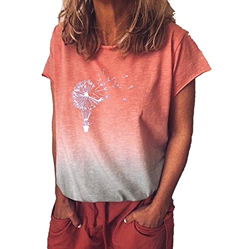 Sommer Frauen Regenbogen Farbverlauf Drucken Casual Loose T-Shirt Kurzarm