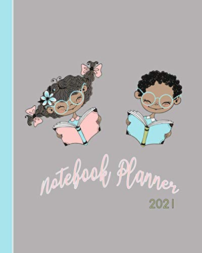 Notebook Diary 2021: Weekly and monthly everyday organisation, schedule planning - Four pages per week encompassing a diary page, goals and ... afro children reading books cover art design