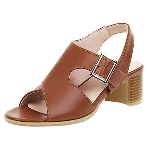 KIMIGAGA Mujer Moda Peep Toe Sandalias Tacón Ancho Talón Abierto Sandalias Fiesta Oficina Zapatos Brown Talla 43 Asiática