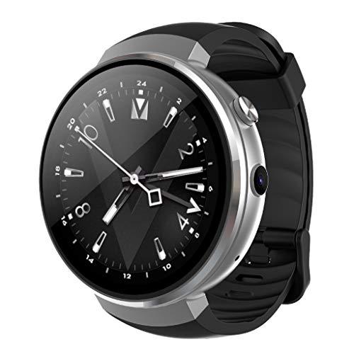 Fuibo Smartwatch, 2018 Man Watch 4G WiFi GPS-Herzfrequenz Round Touch Screen Smartwatch mit SIM-Karte Kamera für IOS und Android Fitness Tracker (Silber)